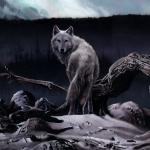 Detail Image of Boreal, wolf painting. - art by Geoff Taylor